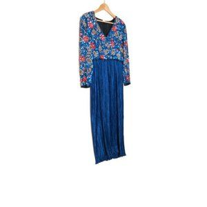 Vintage 90s George Williams Couture Blue Pleated